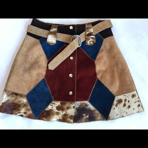 Vintage cowhide & Suede Leather patchwork skirt